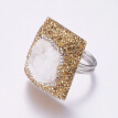 304 Stainless Steel Rings, with Polymer Clay Rhinestone, Druzy Quartz, Square, Size 8, Platinum, Mixed Color, 18mm