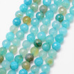 Natural Crackle Agate Bead Strands, Round, Grade A, Faceted, Dyed & Heated, Turquoise, 6mm, Hole: 1mm; about 61pcs/strand, 15""