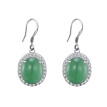 Women Fashion Jewelry Gift Party Decor Fake Jade Rhinestone Inlaid Hook Earrings