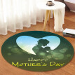 〖Follure〗Happy Mother's Day Pattern Round Area Rug Coral FLeece 120cm
