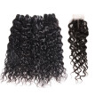 Brazilian Remy Human Hair Weave Water Wave Hair 4pcs Hair Bundles with  Closure