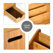 Natural Bamboo Desk Organizer with 3 Compartments & 1 Drawer & 1 C-fold Paper Hand Towel Case Remote Control Storage Box Cosmetic