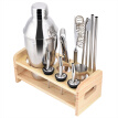 Greensen 13pcs Stainless Steel Cocktail Shaker Mixer Drinker with Wood Holder Stand Drinking Tool Bar