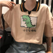 Women Summer Design Cute Student Loose Polo Collar T-Shirt Half Sleeve Dinosaur Print Polo Shirt White XL