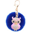 Car Keychain Handmade Cute Creative Plush Owl Rex Rabbit Hairball Crystal Rhinestone Jewelry Bag Pendant