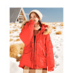 INMAN 2018 winter new hooded big fur collar loose casual short down jacket female 18841VP22184 red L