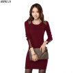 Women's Solid U Neck Long Sleeve Beading Slim Mini Pencil Dress Solid Patchwork Office Lady Dresses