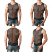 Sexy Men Fishnet Mesh See Through T-shirt Muscle Tank Top Gothic Club Slim Tops