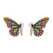 2019 hot sale European and American fashion personality color crystal butterfly stud earrings party accessory ear nail