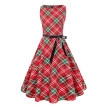 Gobestart Women Solid Evening Dress Round Collar Vintage Plaid Print Dress