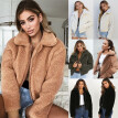 Women Casual Teddy Bear Coat Ladies Fleece Zip Outwear Jacket Oversized Overcoat