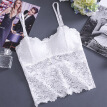 Women camisole lace Tube Top Gather Tanks Hollow Out Lace Nightclub Cami Bralette Crochet Solid Crop Tank Flower Camisoles