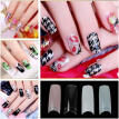100PCS False Acrylic Gel French Fake Nail Art DIY Fingernail Half French Tips Red, Green, Blue, Black, White, Clear, Pink, Nat