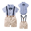 Summer Baby Boy Clothes Set Casual Short Sleeve Striped Plaid Romper & T-shirt Tops Strap Shorts Outfits Set