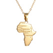 Bluelans Men Women Fashion Africa Map Pendant Letters Carved Chain Necklace Jewelry Gift