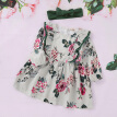 Autumn 2Pcs Baby Girls Dress Sets Kids Floral Pattern Dresses Casual Long Sleeve Tutu Sundress+Headband Children Clothes