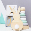 Ins Nordic Style Wooden Rabbit Ornaments Children's Room Decoration Wood Craft Kids Safe Natural Toys Gifts Photography Props
