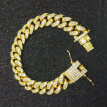 Hip Hop Men Cuban Link Chain Bracelet Shiny Rhinestone Inlaid Bangle Jewelry