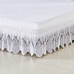 White Ruffle Lace Elastic Bed Skirt 3 Sided Wrapped 15 Inches Drop Length Full/Queen/RV King/California King 4 Size Bed Wrap