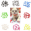20Pcs Soft Plastic Colorful Cat Nail Caps Paw Claw Protector Cover with Glue