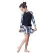 2018 New Muslim Girls Swimwear Modest Islamic Stripe Patchwork Muslim Sets Lovely Child Swimwear Holiday Beach Wear