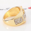 Gold Filled Titanium Rings Pave Rhinestone Iced Out Square Ring Men Jewelry Gold Silver Wedding Ring