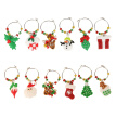 1Set Christmas Wine Glass Decoration Charms Party New Year Cup ring Table Decorations Xmas Pendants Metal Ring Decor 6pcs