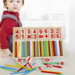 Wooden Sticks Building Blocks Number Cards Counting Rods with Box Education Toy