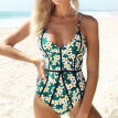 Sexy High Waist Bikini Women Swimwear Swim + Suit Bathing Polka Green Floral Siamese bikinis Beach Wear