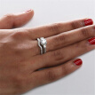 Bluelans 2-in-1 Women Vintage Rhinestone Engagement Wedding Party Jewelry Finger Ring