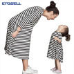 ETOSELL Long Sleeve Loose Family Dress Family Matching Outfits Mother and Daughter Fall Full Black Striped Dresses