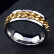 Punk Men Women Unisex Stainless Steel Chain Inlaid Finger Ring Band Jewelry Gift