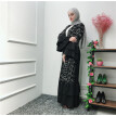 Women Openwork embroi Long Dress Robe Open Abaya Cardigan Muslim Dubai Robe Gown