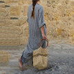 Women Striped Dress Sexy V-Neck Long Sleeve Maxi Long Dresses Vintage Casual Loose Dress Vestidos Big Size