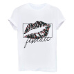 Personality Women Lip Print Summer T-Shirt White O-Neck Ladies Loose Comfort Tops Short Sleeve Letter Print Shirt