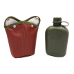 1L Outdoor Sport  Military  Hunting Canteen Bottle Plastic Camping Hiking Survival Water Bottle Kettle With Leather Cover Sport