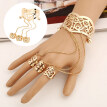 Retro Hollow Flower Wide Open Cuff Bell Bracelet Bangle 3-Finger Ring Jewelry