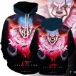 2019 New Fashion Men's Hoodie 3D Clown Print Long Sleeve Loose Casual Pullover Top