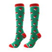 Hot sale Christmas Cap Tree Deer Striped Printed Compression Socks Knee High/Long Polyester Nylon Hosiery Footwear Accessories