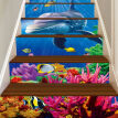 6Pcs/Set Seaworld Waterproof Stairs Sticker Waist Line Kitchen Tile Sticker Wall Art Decal PVC Adhesive Bathroom Floor Wallpaper