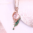 Pink Crystal Phoenix Rose Gold Pendant Necklace For Women Sweater Chain Fashion Wedding Party Jewelry Gifts