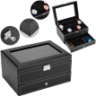 10 Slots Watch Box Mens Watch Organizer Lockable Jewelry Display Case with Real Glass Top Faux Leather Black