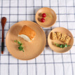 1PC Retro Solid Beech Wood Dinner Plate Western Food Rectangular Round Snack Dessert Serving Tray Storage Trays Kitchen