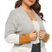 Large Size Women Cardigan Sweater Loose Knit Mid-long Sleeve Strip Gray Coat