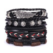 Multilayer Leather Bracelets Set For Men Wristband Cuff Bangles