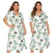 〖Follure〗Plus Size Womens Plus Size Casual V Neck Short Sleeve Knee Length Dress Party Dress