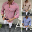 Mens Shirt Fit Striped Business Oversize Lapel Long Sleeve Pullover Casual Top
