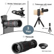 APEXEL APL-T18XBZJ5 Telephoto 4 in 1 Cellphone Lens Universal Kit 18X Mobile Phone Telephoto Lens 198° Fisheye Lens 0.63X Wide Ang