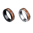 Men 8mm Retro Titamium and Wood Inlay Ring Stainless Steel Ring Wedding Band Ring Hand Accessories