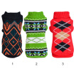 Small Dog Knitted Sweater Dark Green Square Sweater Dog Puppy Sweater Jumper Apparel Clothes Winter Warm Knitwear Woolen Cloth